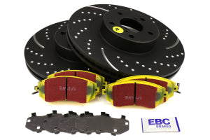 EBC Brakes S5 Front Brake Kit Yellowstuff Pads and 3GD Rotors Subaru Models (inc. 2011-2014 WRX / 2011-2013 Forester XT) (S5KF1676)