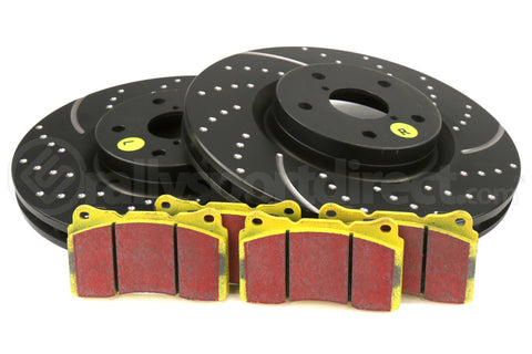 EBC Brakes S5 Front Brake Kit Yellowstuff Pads and 3GD Rotors Subaru STI 2005+ (S5KF1111)