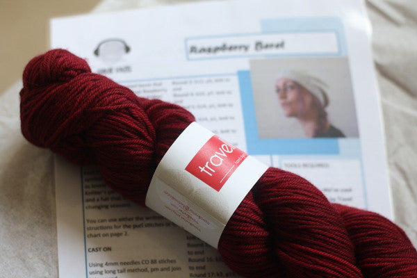 Raspeberry Beret Kit with Travel Knitter