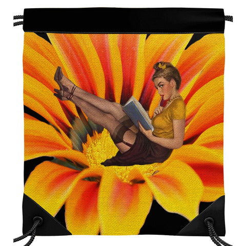 Sassy Pinup Reading A Book On A Flower Drawstring Bag