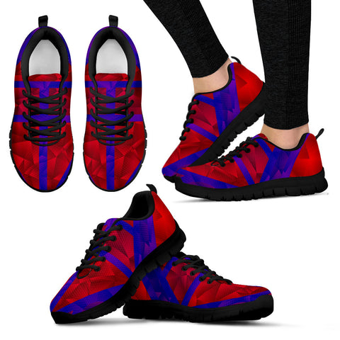 Crystal Red Blue Geometric Women's Running Sneakers
