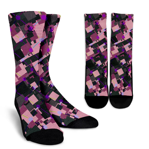 Purple Pink Geometric Crew Socks