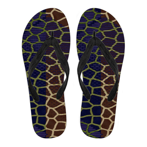 Two Tone Giraffe Pattern Women's Flip Flops
