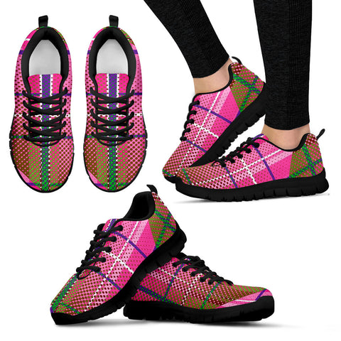 Pink Plaid Geometric Womens Running Sneakers