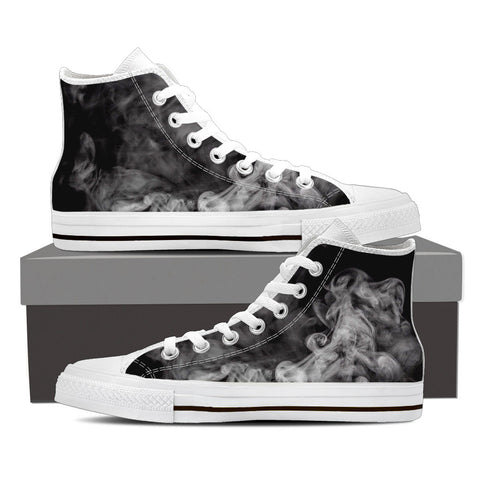 Black Smoke Vape Men's Canvas Hightop Shoes