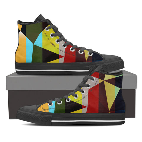 Funky Triangular Geometric Men's Canvas Hightop Shoes