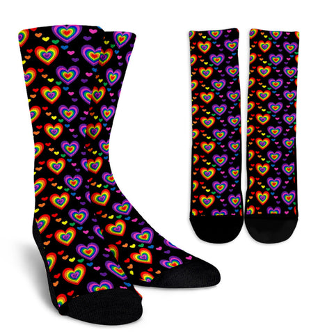 Cute Rainbow Hearts Women's Crew Socks
