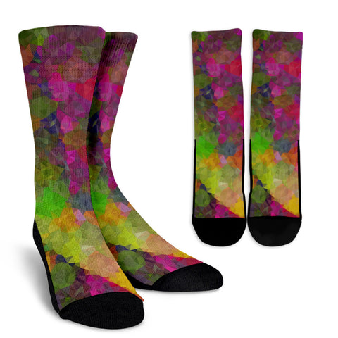Rainbow Geometric Crew Socks