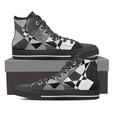 Black Grey Geometric Men's Canvas Hightop Shoes