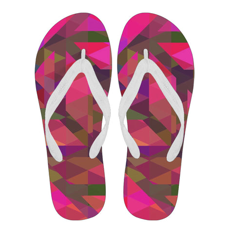 Pink Green Geometric Pattern Women's Flip Flops