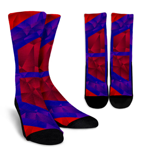 Red Blue Geometric Pattern Crew Socks