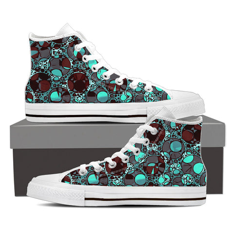 Tourqoise Abstract Women's Canvas Hightop Shoes