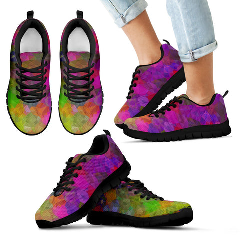 Rainbow Geometric Pattern Kid's Sneakers