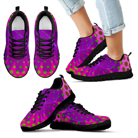 Hot Pink Purple Psychedelic Polkadots Kid's Sneakers