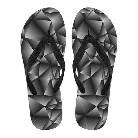 Black Grey Geometric Pattern Men's Flip Flops
