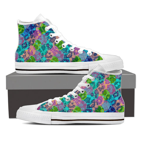 Colorful Cheetah Print Womens Canvas Hightop Shoes