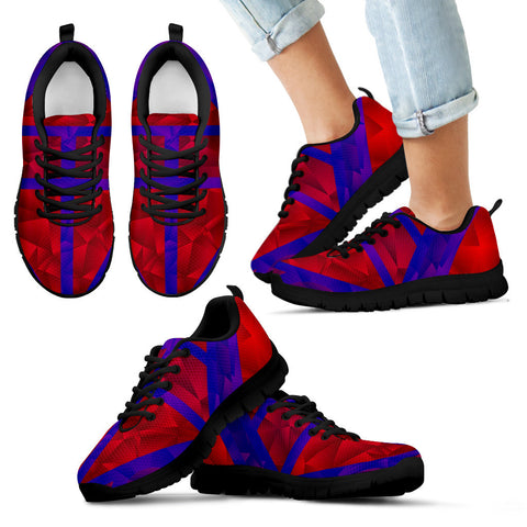 Bright Red Blue Geometric Pattern Kid's Sneakers