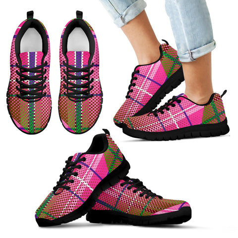 Pink Plaid Polka-dot Kid's Sneakers