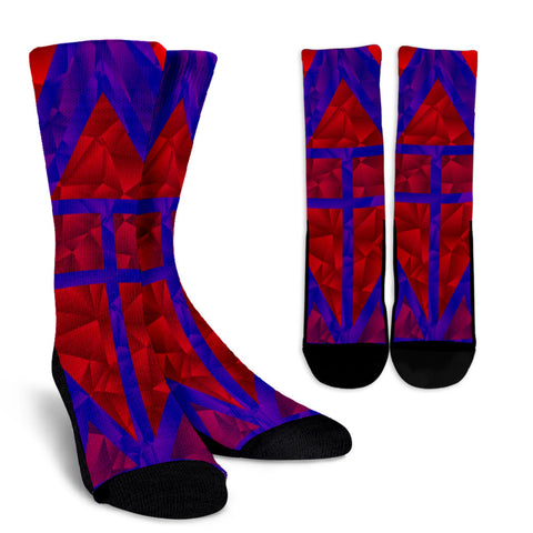 Bright Red Blue Geometric Crew Socks
