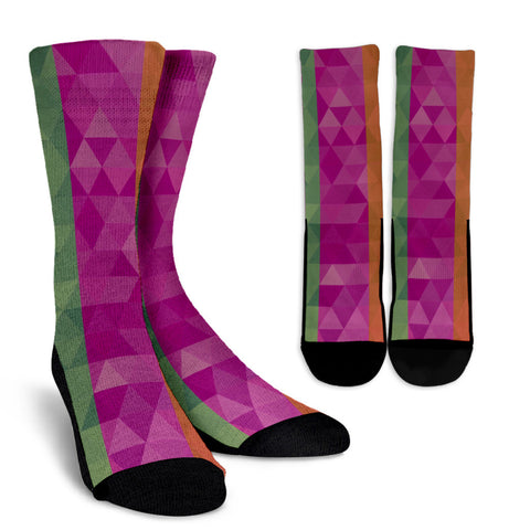 Green Purple Orange Geometric Crew Socks