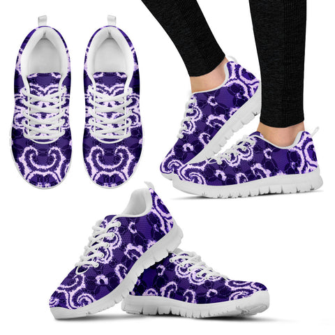 Purple White Abstract Women's Running Sneakers