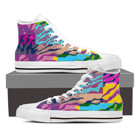 Multicolor Zebra Print Womens Canvas Hightop Shoes