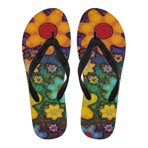 Retro Flowers Women's Flip Flops