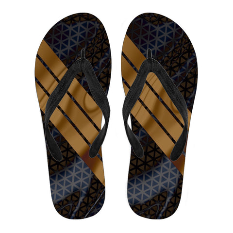 Black Gold Geometric Pattern Men's Flip Flops