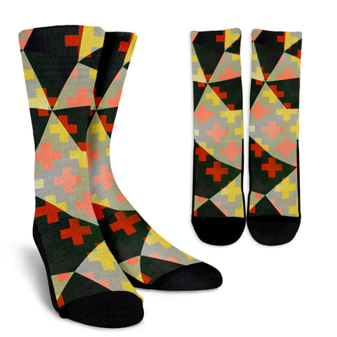 Black Red Geometric Pattern Men's Crew Socks