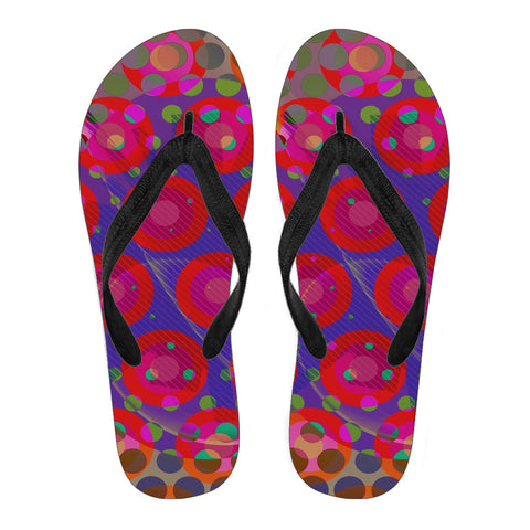 Pink Purple Retro Polkadot Women's Flip Flops
