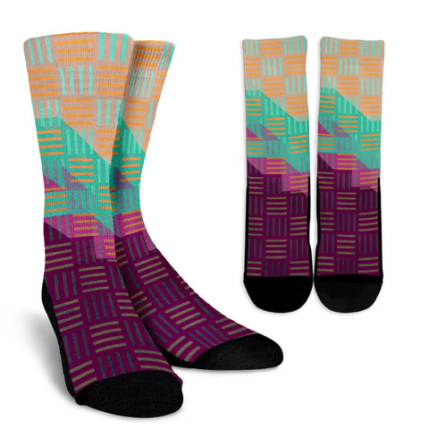Multicolor Geometric Pattern Crew Socks