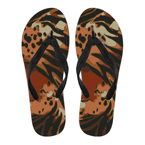 Jungle Animal Print Flip Flops
