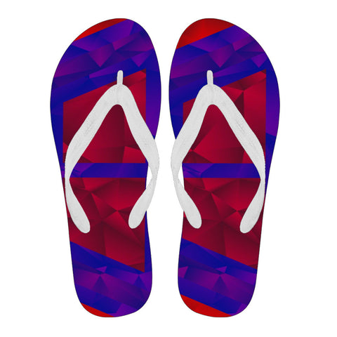 Red Blue Geometric Pattern Women's Flip Flops