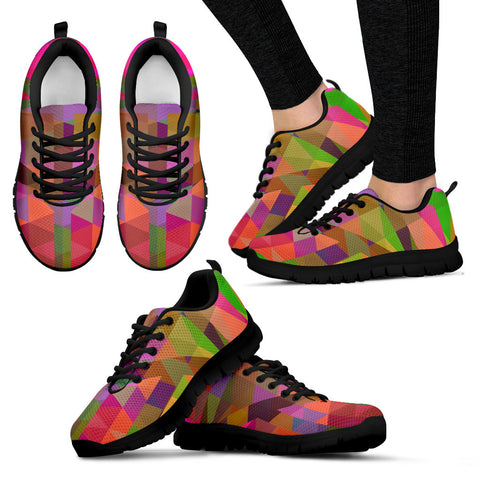 Multicolor Geometric Womens Running Sneakers