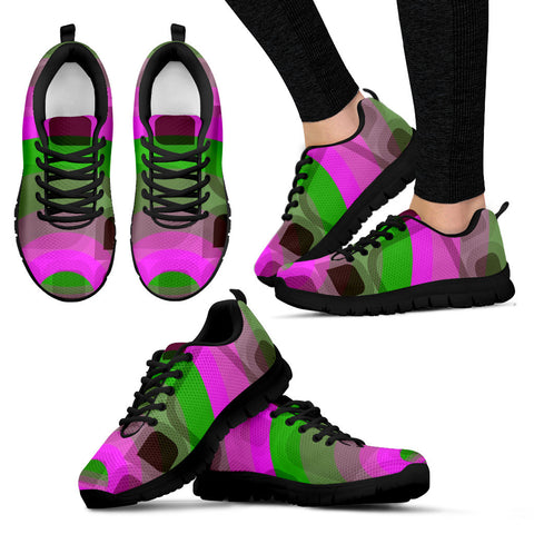 Pink Neon Green Retro Womens Running Sneakers