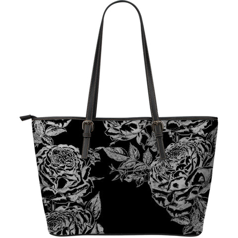 Black Roses Large Leather Tote Bag