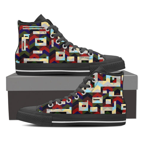Multicolor Geometric Men's Canvas Hightop Shoes