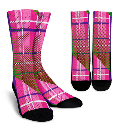 Pink Plaid Polkadot Stripes Women's Crew Socks