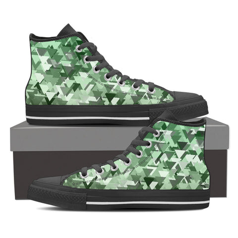 Mint Geometric Pattern Men's Canvas Hightop Shoes