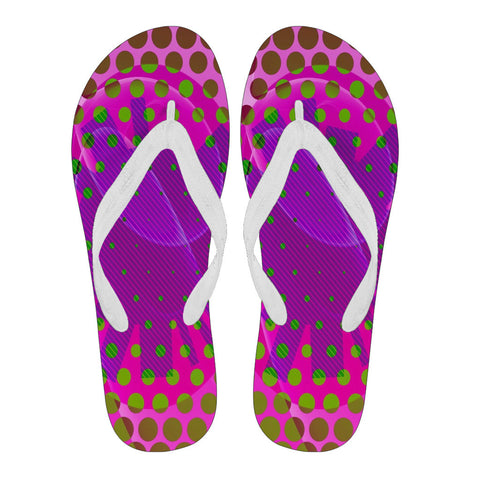Hot Pink Purple Geometric Polkadots Women's Flip Flops
