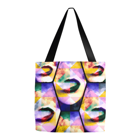 Rainbow Woman Lips Smoke Vape Art Tote Bags