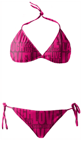 Hot Pink Liv Laugh Love Typography Bikini - Ocdesignzz  - 1