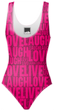 Hot Pink Live Laugh Love Swimsuit - Ocdesignzz  - 1