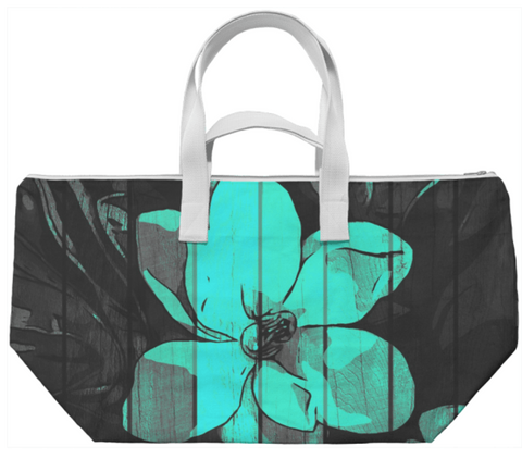 Turquoise Flower Wood Weekend Bag - Ocdesignzz