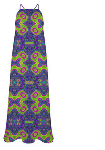 Trippy Neon Pink Lime Abstract Chiffon Maxi Dress - Ocdesignzz  - 1