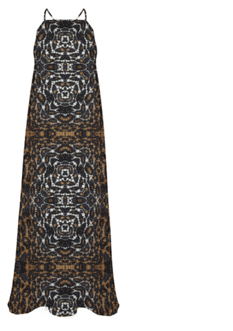 Brown White Tiger Abstract Chiffon Maxi Dress - Ocdesignzz  - 1