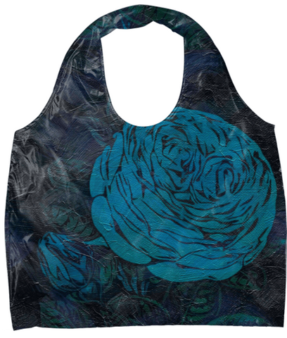 Turquoise Painted Roses Eco Bag - Ocdesignzz