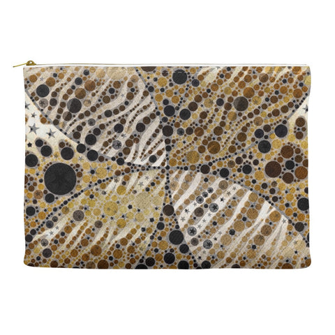 Brown Zebra Cat Paws Abstract Accessory Pouches
