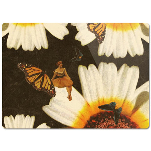 Vintage Woman Sitting On Flowers Glass Cutting Board