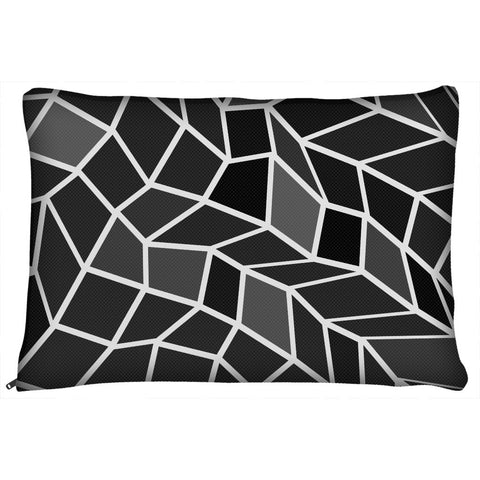 Black Geometric Pattern Dog Bed